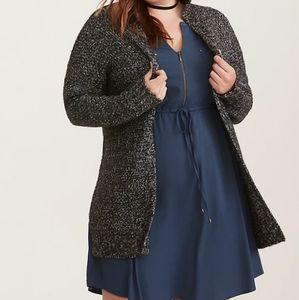 Torrid Marled Knit Open Front Hooded Cardigan 00
